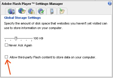 Flash Storage Settings in Settings Manager