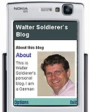 Walter Soldierer's blog on a mobile phone